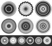 Set of 6 geometric circle element. Circular spirals. Stock Photo