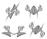 Set of geometric cobra tattoos Stock Image