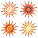 Set of 4 geometric colorful mandalas. Royalty Free Stock Photography