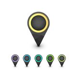 Set of geometric colorful map markers Stock Photo