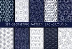 Set geometric contour pattern blue and white background vector illustration