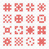 Set of geometric cross stitching element Royalty Free Stock Photos