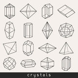 Set of geometric crystals gem and minerals Stock Images