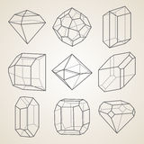 Set of geometric crystals. Royalty Free Stock Photography