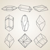 Set of geometric crystals. Royalty Free Stock Photos