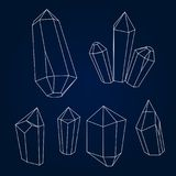 Set of geometric crystals. Geometric shapes. Trendy hipster background stock illustration