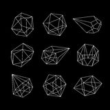 Set of geometric crystals. Geometric shapes. Vector graphics collection Royalty Free Stock Photo
