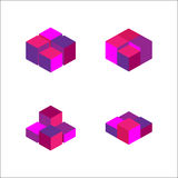 set of geometric cube. Fashion graphic design.Vector illustration. Background design. Optical illusion 3D. Modern stylish abstract Royalty Free Stock Photos