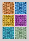 Set of geometric cubist patterns, tiles in different color variants, orange, blue, yellow, purple, green Royalty Free Stock Photos