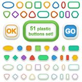 Set of 51 geometric 3d plastic buttons and infographic elements. Set of colorful 3d plastic buttons for web design and decoration. 17 geometric buttons made in 3 Royalty Free Stock Photo