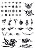 Set of geometric decorations and tribals tattoos Stock Photo