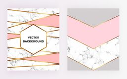 Set geometric designs posters with gold, cream, grey, pastel pink colors and marble texture stripesr background. Template for invi. Tation, card, design, banner royalty free illustration