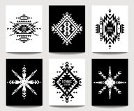 Set of geometric ethnic black and white flyers. Vector set of geometric abstract black and white flyers. Ethnic design brochure templates. Modern tribal vector illustration