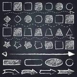 Chalk drawn geometric figures and arrows. Set of geometric figures and arrows. Chalk drawn illustration. Chalkboard background vector illustration