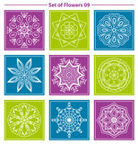 Set of geometric and floral linear monogram design on color back Royalty Free Stock Photo
