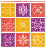 Set of geometric and floral linear monogram design on color back Stock Image