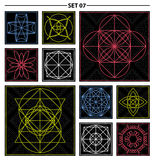 Set of geometric and floral linear monogram design. Line art ele Royalty Free Stock Photo