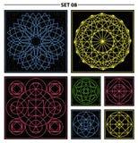 Set of geometric and floral linear monogram design. Line art ele Stock Images