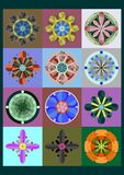Set of geometric flowers Stock Photo
