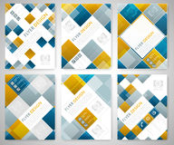 Set of geometric flyer template design with blue and red square elements. Cover layout, brochure or corporate banner. Stock Images