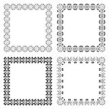Set of geometric frames. In black color isolated on white background. Four square with ethnic smooth swirly borders. For your design, text or photo. Vector Stock Image