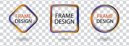Set geometric frames on a transparent background. Decorative modern design elements. Vector Stock Photos
