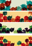 Set of Geometric Gradient Cube Web Banners Royalty Free Stock Images