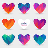 Set of geometric hearts. Colorful vector hearts with geometric ornament, Valentine's day decorations Royalty Free Stock Images