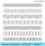 Set of geometric hipster shapes and logotypes65488851. Set of linear thin line art deco retro hipster vintage design elements in geometric shape. Figured frame Royalty Free Stock Image