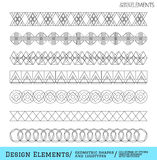 Set of geometric hipster shapes and logotypes6548885111. Set of linear thin line art deco retro hipster vintage design elements in geometric shape. Figured frame Stock Photography