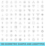 Set of 100 geometric hipster shapes Royalty Free Stock Images