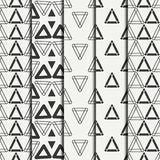 Set of geometric line monochrome abstract hipster seamless pattern with triangle. Wrapping paper. Scrapbook paper Royalty Free Stock Images