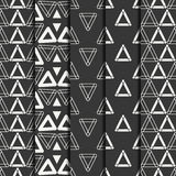 Set of geometric line monochrome abstract hipster seamless pattern with triangle. Wrapping paper. Scrapbook paper Royalty Free Stock Photography