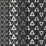 Set of geometric line monochrome abstract hipster seamless pattern with triangle. Wrapping paper. Scrapbook paper Royalty Free Stock Image