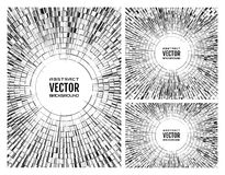 Set geometric monochrome grey illustration of radial random abstract shapes. Disco ball background. Free space in the center for your text Royalty Free Illustration