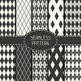 Set of geometric monochrome seamless pattern with Stock Photo
