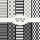 Set of geometric monochrome seamless pattern with Royalty Free Stock Photo