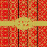 Set of geometric national chinese seamless pattern Royalty Free Stock Images