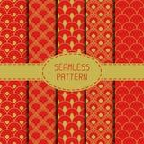 Set of geometric national chinese seamless pattern Stock Photo