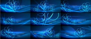 Set of geometric neon tree backgrounds. Set of vector blue geometric neon tree backgrounds Stock Photography