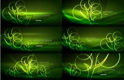 Set of geometric neon tree backgrounds. Set of vector geometric neon tree backgrounds Stock Photography