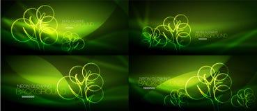 Set of geometric neon tree backgrounds. Set of vector geometric neon tree backgrounds Royalty Free Stock Photo