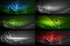 Set of geometric neon tree backgrounds. Set of vector geometric neon tree backgrounds Stock Images