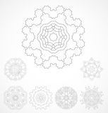 Set of geometric outline rosetta ornamet Stock Image