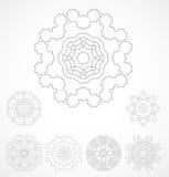 Set of geometric outline rosetta ornamet Stock Image