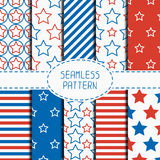 Set of geometric patriotic seamless pattern with Royalty Free Stock Photo