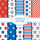 Set of geometric patriotic seamless pattern with Stock Image