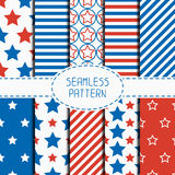 Set of geometric patriotic seamless pattern with Royalty Free Stock Photography