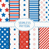 Set of geometric patriotic seamless pattern with Stock Photo
