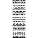 Set of geometric Pattern brushes in Tribal ethnic style Royalty Free Stock Photo